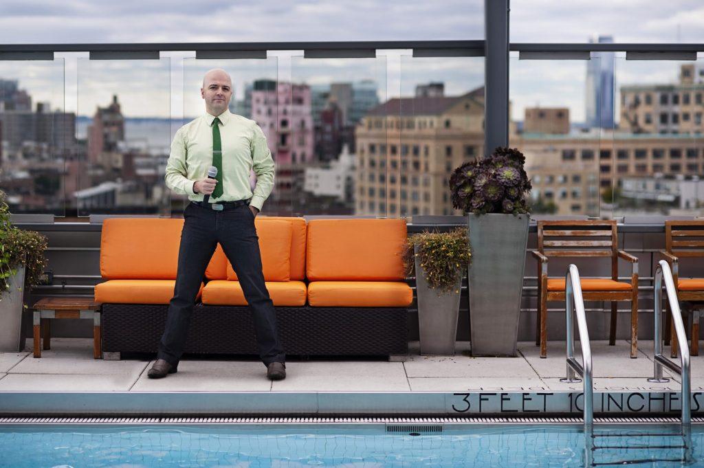 Tony Hightower New York city game night trivia host and former Jeopardy winner quizmaster